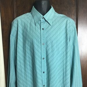 Claiborne Men Sz XL Green Long Sleeves Shirt EUC